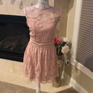 Blush Two Piece Lace Skirt Set